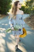 Floral Off Shoulder Dress in Gray
