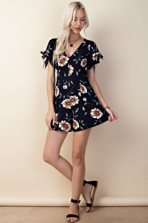6ef24eb55e0 Floral Off Shoulder Maxi Short Romper.  38.00. Floral Romper with Sleeve  Detail