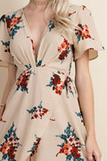 Floral Wrap Detail Maxi Dress in Taupe
