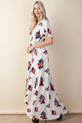Floral Wrap Detail Maxi Dress in Ivory