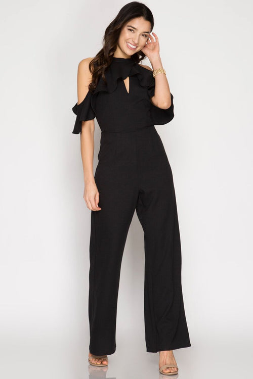 Ruffled Sleeve Cold Shoulder Jumpsuit in Black