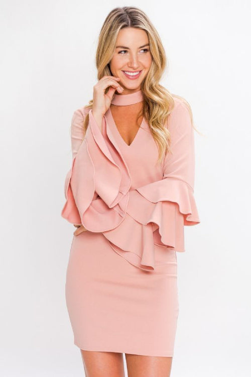 Fitted V-Neck Dress with Tiered Ruffle Sleeves in Mauve