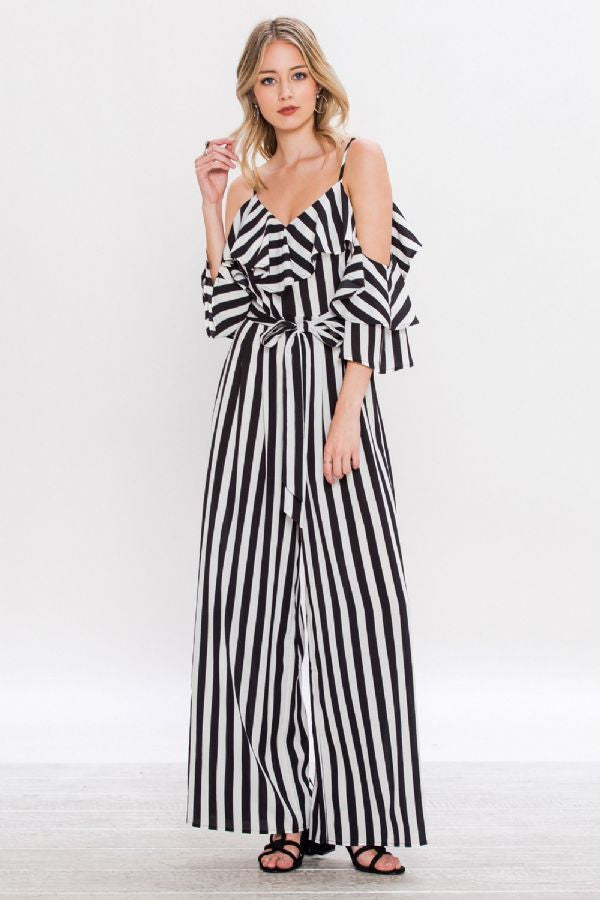 Black & White Striped Jumpsuit with Open Shoulders