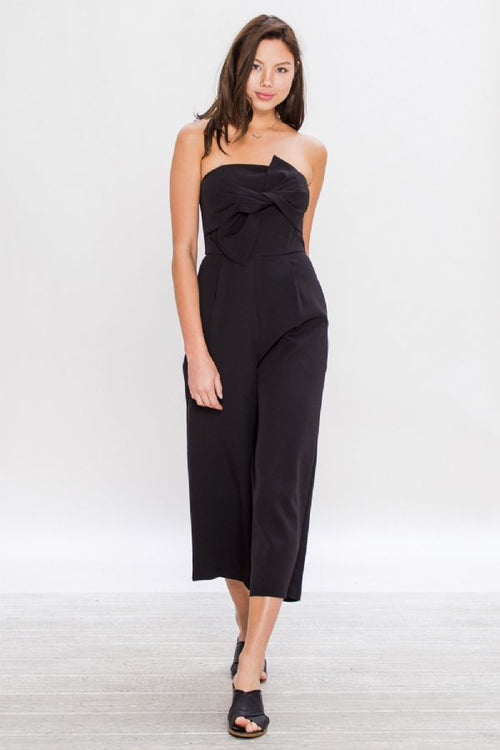 Delia Black Jumpsuit with Bow Detail