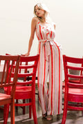 Amelia V-Neck Jumpsuit in Red and Ivory