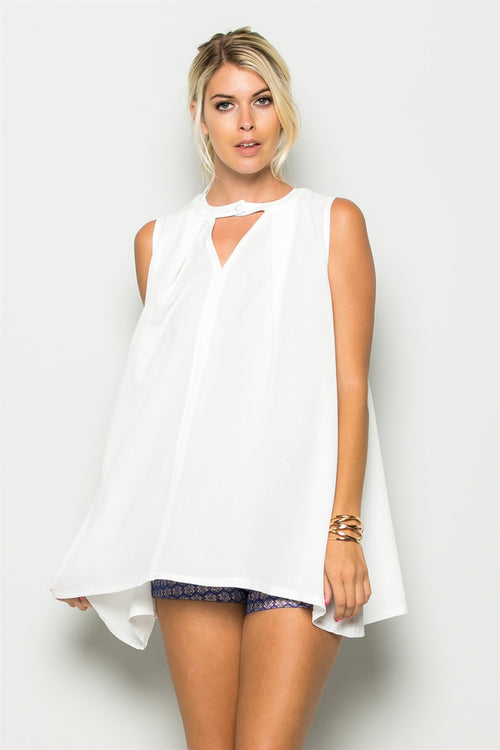 Relaxed Tunic with Front Button Detail in White