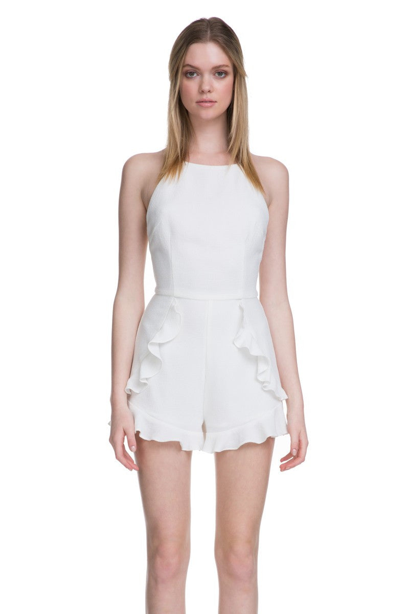 Halter Top with Spaghetti Strap Detail Romper in Off White