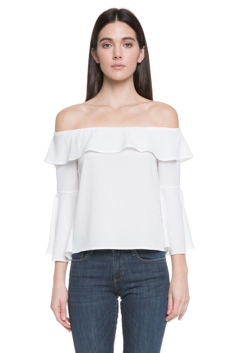 Off Shoulder Ruffle Top in Off White