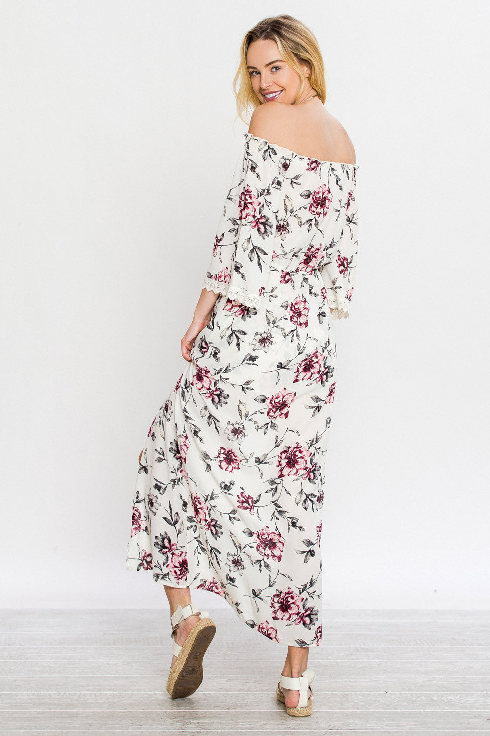 cea1cecf618 Floral Off Shoulder Maxi Short Romper – Lemora