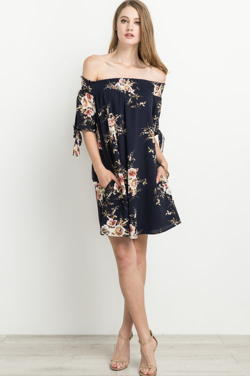 Floral Print Smocked Self Tie Dress in Navy