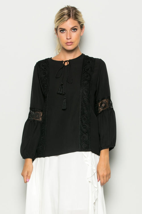 Embroided Self Tie Relaxed Fit Top