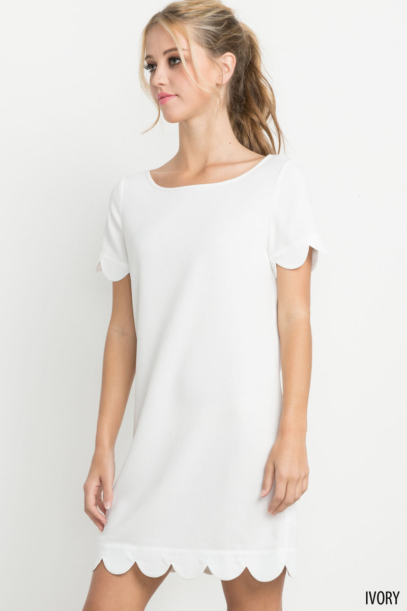 Scalloped Hem Short Sleeve Dress in Ivory