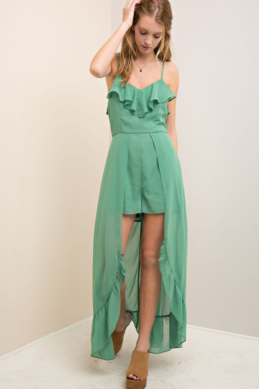 Ruffled V-Neck Romper with Maxi Length Skirt in Seagreen