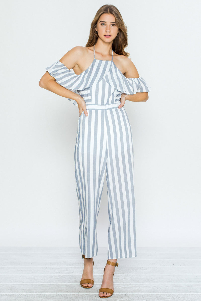 Off Shoulder Blue Striped Ruffle Jumpsuit