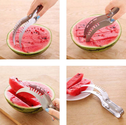 stainless steel, fruit slicer, dual knife, kitchen tool