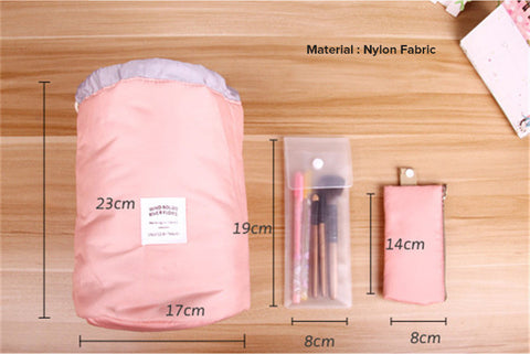 cylindrical cosmetic bag, korean cosmetic bag, large capacity portable bag