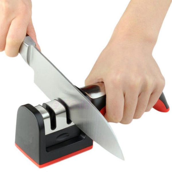 steel, plastic, knife sharpener, kitchen utility, home, restaurant, hotel, shop.
