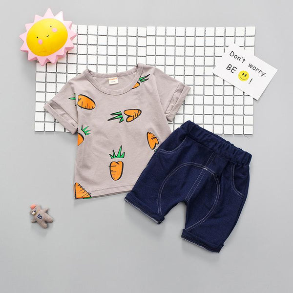 100% Cotton Top & Shorts Sets For Unisex For Baby Sets & Suits - GlobePanda