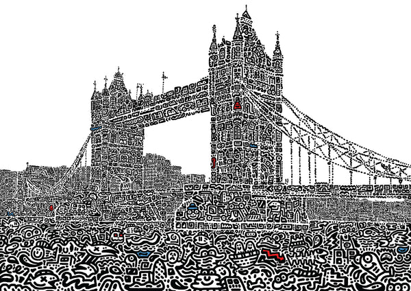 'London Bridge Doodled' A3 digital print (limited edition of 50)