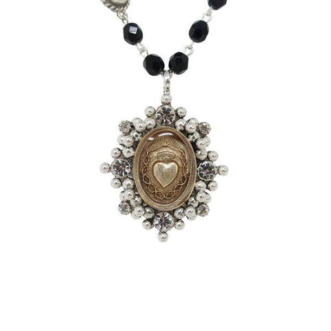VSA virgin saints and angels magdalena necklace jet black crystals and silver