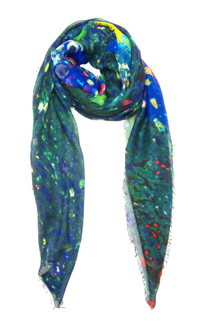 Blue Pacific Sunflower Scarf Blue Green Yellow