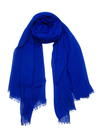 Blue Pacific Silk and Linen Cobalt Blue Scarf