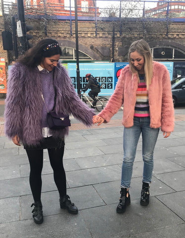 The trends that inspired us on the streets of London were monochromatic outfits paired with fun (faux) furs and tons of sparkle.