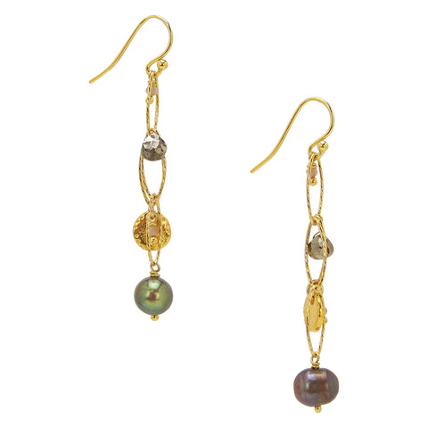 Chan Luu Gold Earrings with Champagne Pearls
