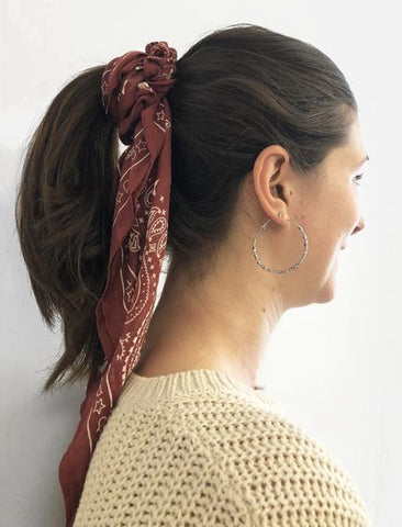 Chan luu cowhide red paisley scrunchie neckercheif scarf