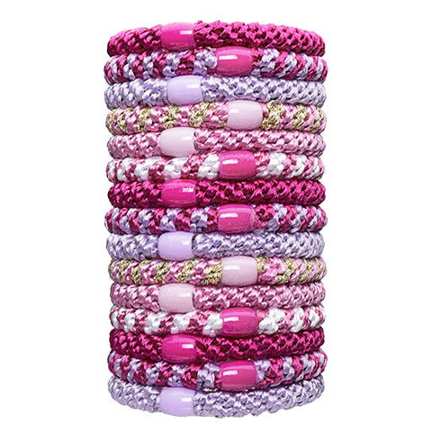 L.Erickson Grab and Go Pony Tube Hair Ties in Flora 15 Pack