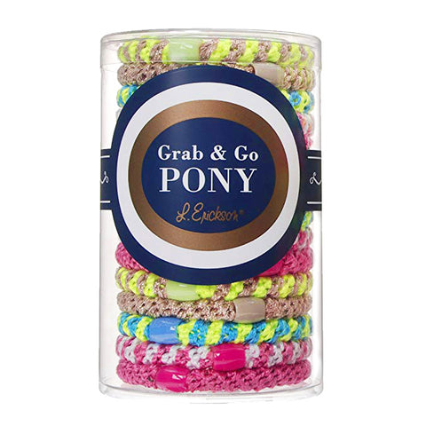 L. Erickson Grab and Go Pony Tube Hair Ties in Miami Mix 15 Pack