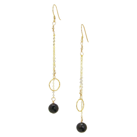 Charlene K Dangle Circle and Onyx Charm Earrings in Gold Vermeil