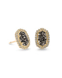 Kendra Scott Cade Oval Stud Earrings in Platinum Drusy CZ and Gold