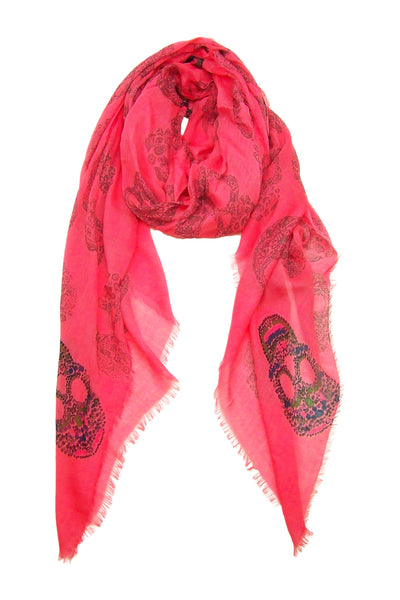 Primary Rolled Blue Pacific Frida Cashmere and Silk Scarf with Skulls in Sugar Coral