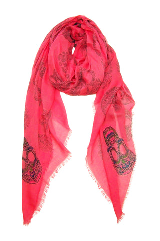 Blue Pacific Frida Cashmere and Silk Scarf with Sugar Skulls in Coral