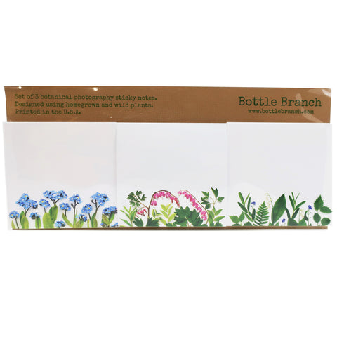 Set of 3 Botanical Photography Sticky Note Set in Woodland Spring