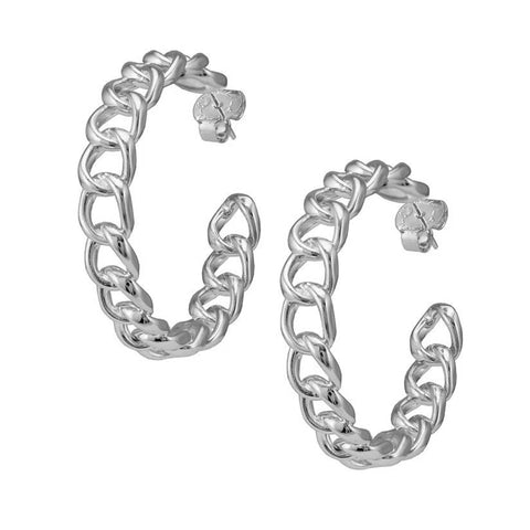 Sheila Fajl Chain Hoop Earrings in Polished Silver Plated
