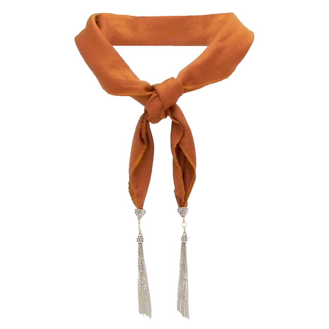 Yunis K Harlow Bandana Style Tassel Necklace in Rust