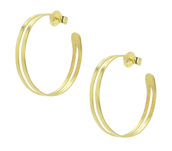 Pair of Sheila Fajl Eclipse Split Hoop Earrings in Gold Plated