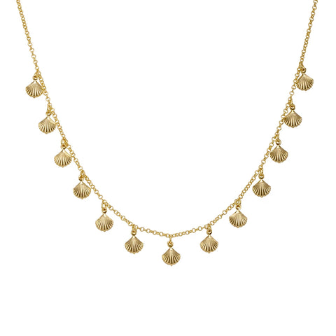 Sheila Fajl Ventura Multi Charm Pendant Choker Necklace in Gold Plated