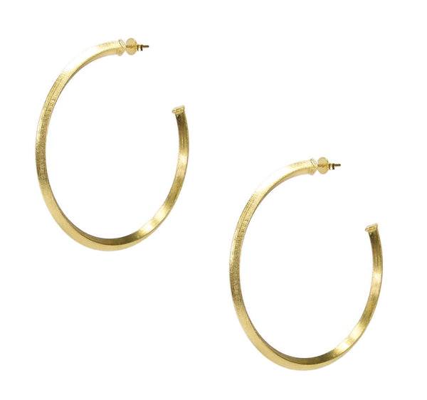 "Sheila Fajl 2"" Celine Pyramid Hoop Earrings in Champagne"