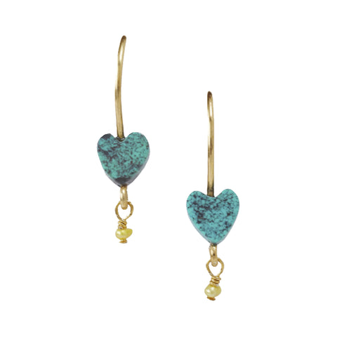 Chan Luu Petite Dangle Heart Charm in Turquoise Blue and Gold Vermeil
