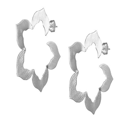 Sheila Fajl Flora Flower Inspired Hoop Earrings in Brushed Silver Plated
