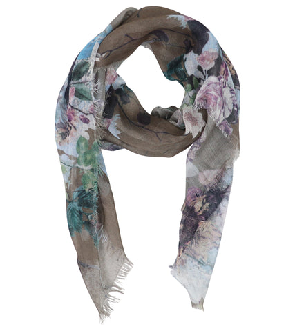 Blue Pacific Floral Micromodal and Silk Neckerchief Scarf in Taupe