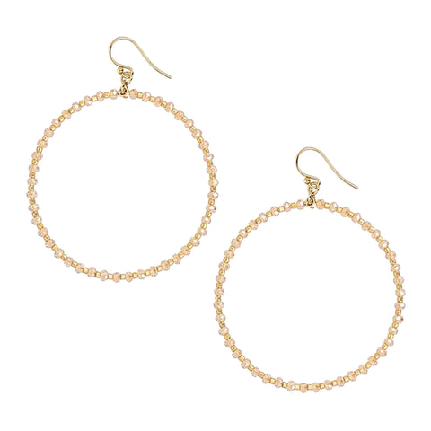Chan Luu 2 Inch Gold Hoop Earrings with Sunflower Crystals and Gold Seed Beads