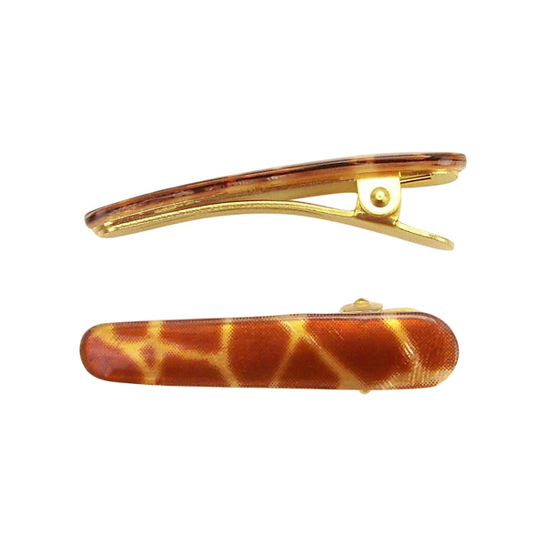 image of Ficcare Ficcaritos Hair Clip Pair in Giraffe and Gold Plated