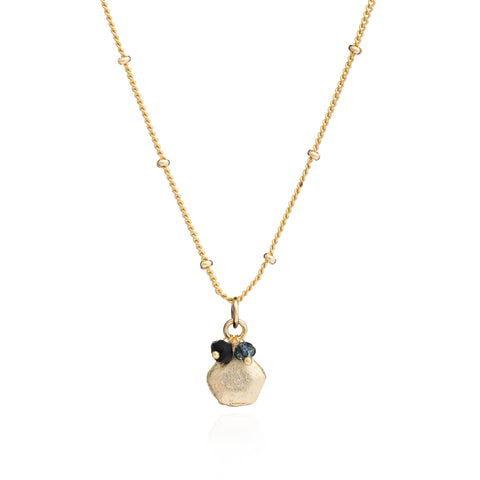Azuni London Alaya Charm Necklace in Iolite and Onyx in Gold Plated