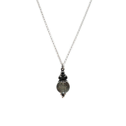 VSA Lucia San Benito Pendant Necklace in Silver and Jet Black Crystal