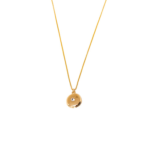 Larissa Loden Circular Locket Charm Pendant Necklace in Gold Plated with Decorative Stone