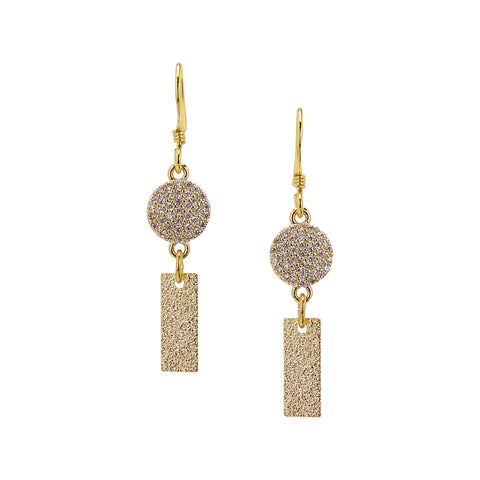 Charlene K Dangle Bar and Circle Charm Earrings in Gold Vermeil